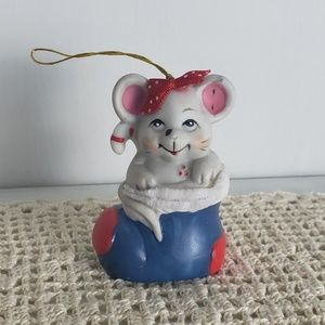 1986 Vintage Mouse in Stocking Christmas Ornament